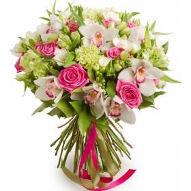 Подарочный букет с розами и орхидеями №188