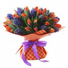 Букет с тюльпанами и гиацинтами №187