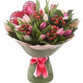Подарочный букет с тюльпанами №189