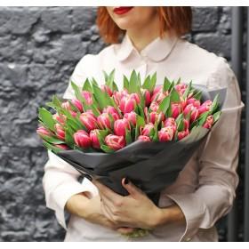 Большой подарочный букет пионовидных тюльпанов