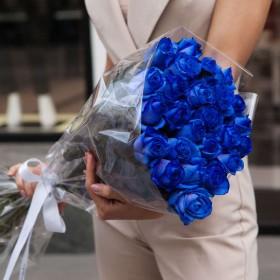 Букет 25 синих роз