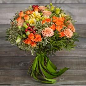 Букет с оранжевыми розами Аделин