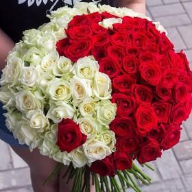Букет из 101 розы Инь Янь