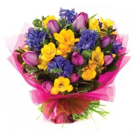 Подарочный букет из тюльпанов и гиацинтов №183