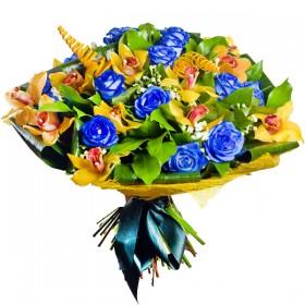 Букет синих роз с орхидеями - №1