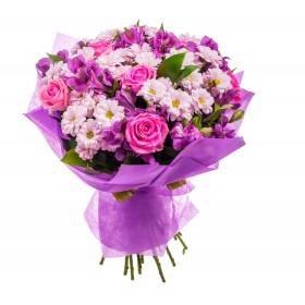 Букет с розами и хризантемами №129