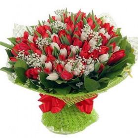 Большой подарочный букет тюльпанов №138