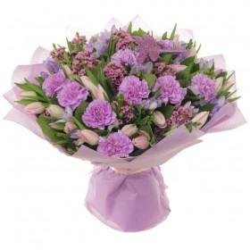 Букет с тюльпанами Сиреневая нежность