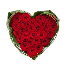 Сердце из роз Красный бархат
