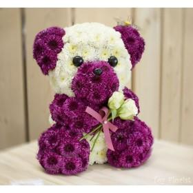 Игрушка из цветов Медведь Пинки