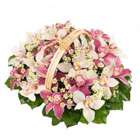 Корзина цветов с ромашками и орхидеми