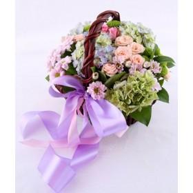 Корзина с гортензией и розами №318