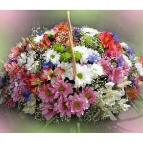 Корзина с цветами Радужная