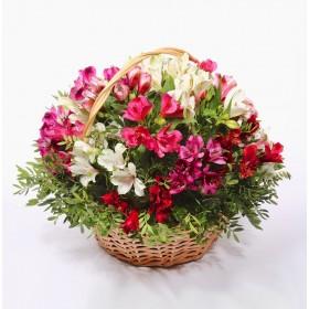 Корзина цветов с альстромериями