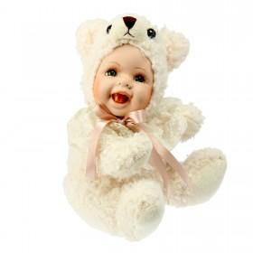 Кукла коллекционная малыш в костюме мишки