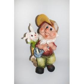 Садовая фигура Гном в кепке с зайчиком
