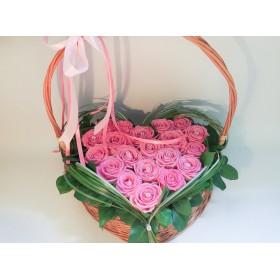 Сердце из роз Розовая вуаль